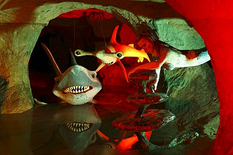 Underwater world with sharks, figures in the Walldorf sandstone and fairytale cave, Rhoen, Thuringia, Gerrmany, Europe
