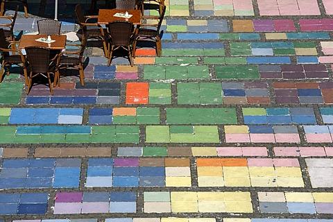 Marienplatz Square in Weilheim, colourful paving stones, detail of Kandinsky painting, Pfaffenwinkel, Upper Bavaria, Germany, Europe