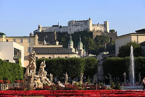 Mirabell Gardens with Raptus Group sculptures, Cathedral, Festung Hohensalzburg, Hohensalzburg Fortress, Salzburg, Austria, Europe
