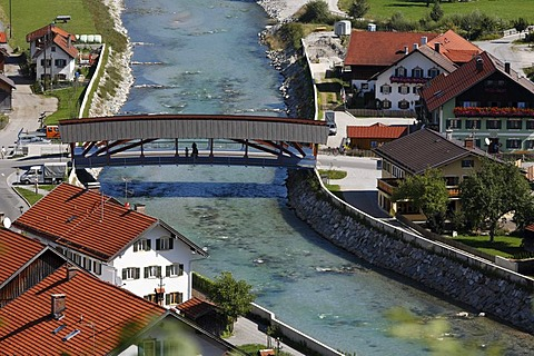 Loisach with high water protection wall in Eschenlohe, Upper Bavaria, Germany, Europe