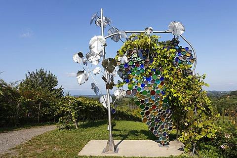 The biggest wine grape of the world by artist Willibald Trojan on Eorykogel, Glanz an der Weinstrasse, Styria, Austria, Europe