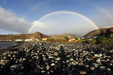 Rainbow in Playa de Santiago, La Gomera, Canary Islands, Spain, Europe - 832-257686