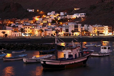In the fishing port of Playa de Santiago in the evening, La Gomera, Canaries, Canary Islands, Spain, Europe