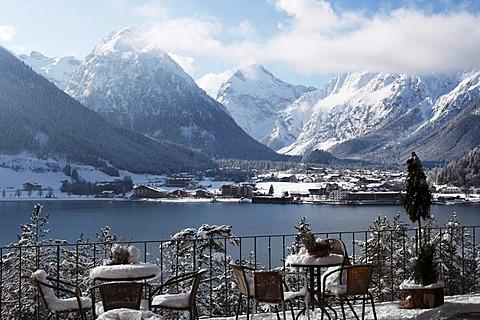 Pertisau and the Karwendel Range, view from the Bergkristall restaurant across the Lake Achensee, Tyrol, Austria, Europe