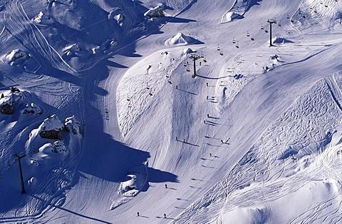 Aerial picture, skiing slopes and ski lifts, ski area at the Sella Pass, Dolomites, Bolzano-Bozen, Italy