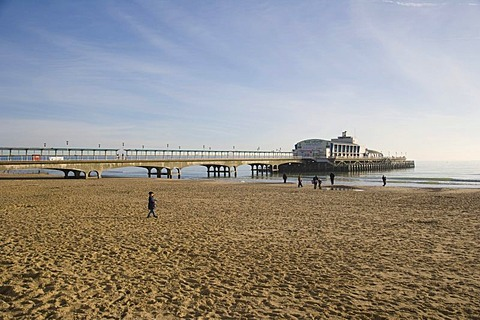Bournemouth beach with Bournemouth Pier and Pier Theatre, Dorset, England, United Kingdom