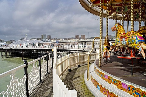 Carrousel, merry-go-round on the pier in Brighton, Sussex, Great Britain, Europe
