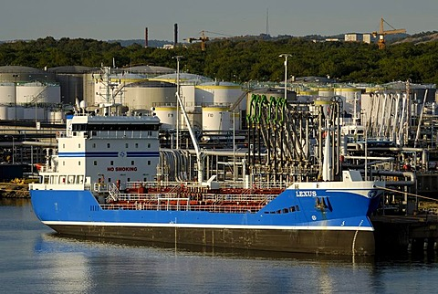 Tanker at the fuel depot, Gothenburg, Sweden, Scandinavia, Europe