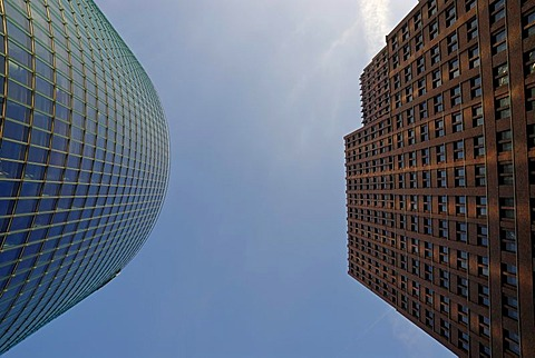 High-rise buildings, BahnTower and Kollhoff-Tower from a worm's-eye view, Potsdamer Platz, Berlin, Germany, Europe