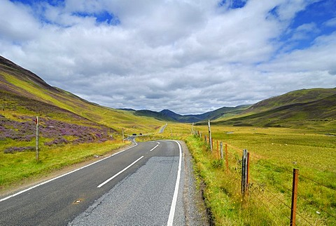 Road through the landscape of the Grampian Mountains, Scotland, Great Britain, Europe