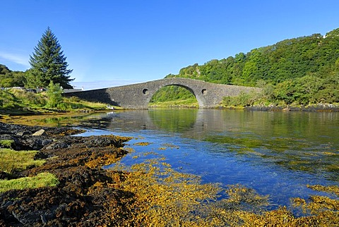 Historic connecting bridge to the Isle of Seil, Isle of Skye, Scotland, Great Britain, Europe