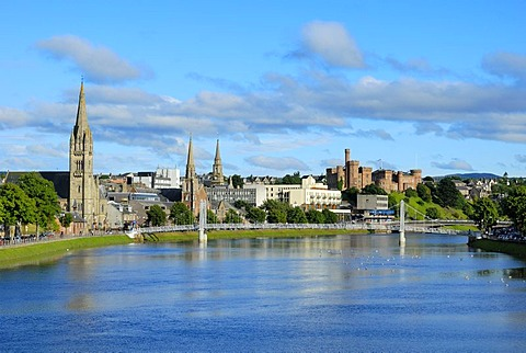 View of the historic city centre of Inverness, Scotland, Great Britain, Europe