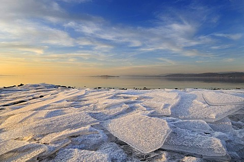 Sheets of ice on the shore of Reichenau Island, Konstanz district, Baden-Wuerttemberg, Germany, Europe
