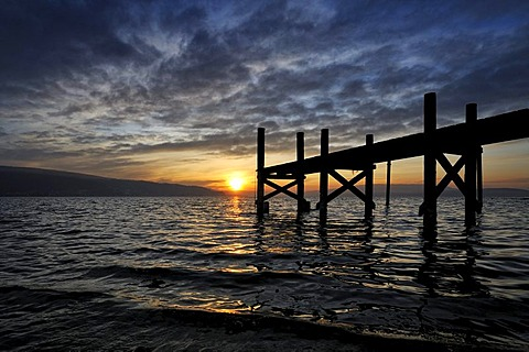 Sunset, jetty at the lakeside of Reichenau Island, district of Konstanz, Baden-Wuerttemberg, Germany, Europe