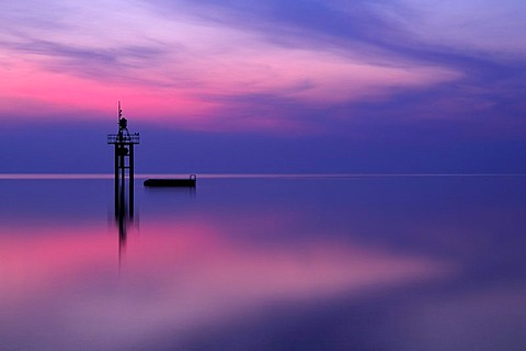 The lighthouse of Constance before sunrise, County of Constance, Baden-Wuerttemberg, Germany, Europe