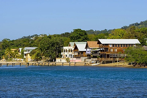 Wooden houses on the coast of Roatan, Honduras, Central America