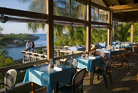 Restaurant, Hotel Anthony's Key Resort, Roatan, Honduras, Central America