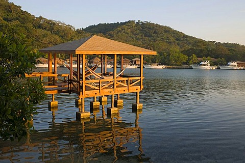 Hut on water, Hotel Anthony's Key Resort, Roatan, Honduras, Central America