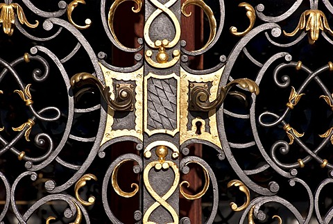Wrought-iron gate, Linderhof Castle, royal palace, Graswangtal Valley, Oberammergau, Bavaria, Germany, Europe