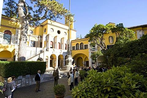 Tourists on the Dalmata Square on the Vittoriale degli Italiani Estate, Italian victory monument, property of the Italian poet Gabriele D'Annunzio, Gardone Riviera, Lake Garda, Italy, Europe