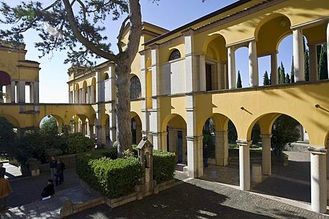 Dalmata Square on the Vittoriale degli Italiani Estate, Italian victory monument, property of the Italian poet Gabriele D'Annunzio, Gardone Riviera, Lake Garda, Italy, Europe