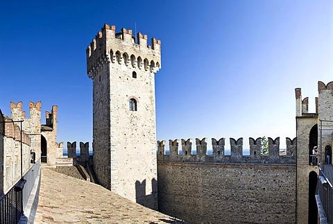 Inner yard of the Scaligero Castle, Sirmione, Lake Garda, Lago di Garda, Lombardy, Italy, Europe