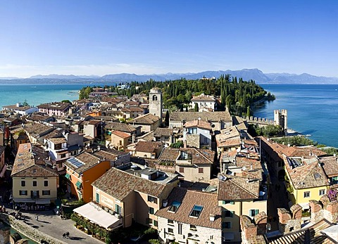 Panoramic view over the historic centre of Sirmione with the Santa Maria Maggiore Church, facing north, Lake Garda at back, Lago di Garda, Lombardy, Italy, Europe