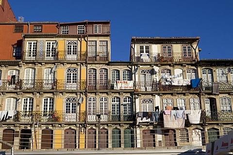 Typical facades at Ribeira Quay, Porto, UNESCO World Cultural Heritage Site, Portugal, Europe