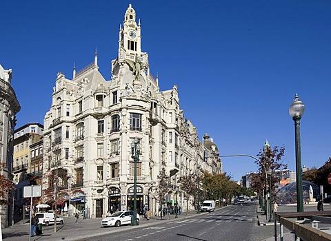 Historic bank building in Parca da Liberdade, Porto, UNESCO World Heritage Site, Portugal, Europe