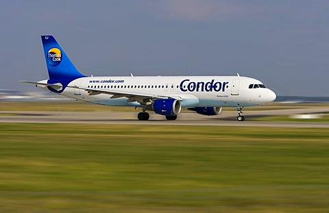 An Airbus A 320 by Condor at Frankfurt Airport, Hesse, Germany, Europe