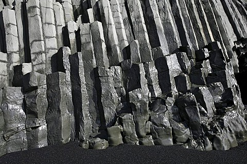 Basalt columns on the beach of Vik on the south coast of Iceland, Europe
