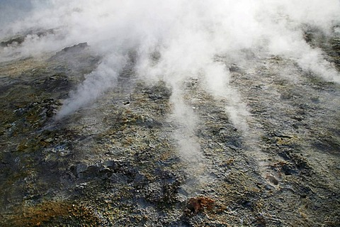 Geothermal region of Gunnuhver in southern Iceland with steam from the countless holes and fractures in the earth's crust, Iceland, Europe
