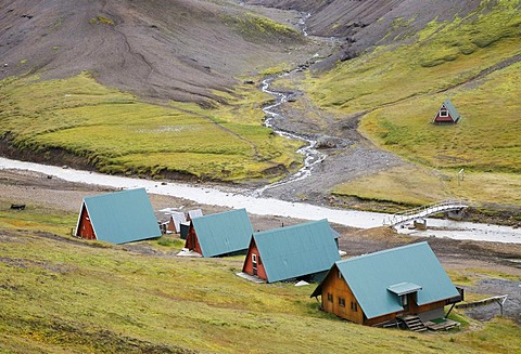 Huts in Iceland's highland near the Kerlingarfjoell Glacier, Iceland, Europe