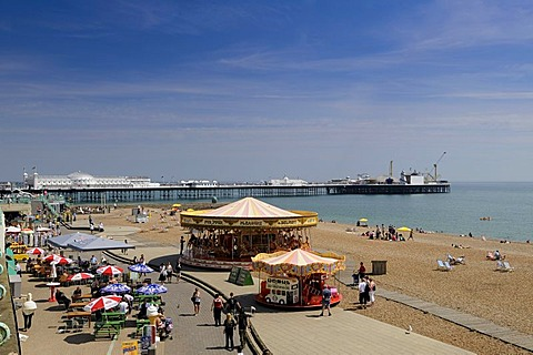 Pier and beach in Brighton, East Sussex, England, Great Britain, Europe