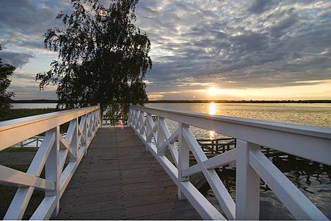 White bridge at sunset, Neustrelitz, Mecklenburg-Western Pomerania, Germany, Europe