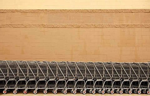 Shopping carts lined up against a supermarket wall, Newton, New Jersey, USA