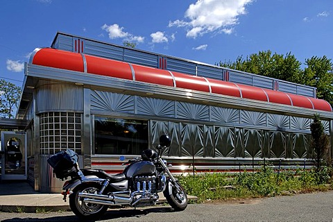 Motorbike in front of an American Diner Restaurant, Blairstown, New Jersey, USA