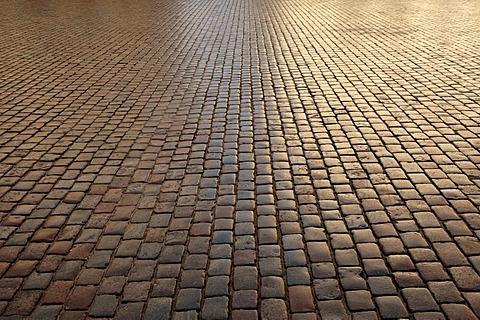 Backlit cobblestone pavement, Schwerin, Mecklenburg Western-Pomerania, Germany, Europe