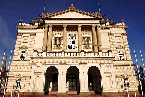 Schwerin Theatre against blue sky, Schwerin, Mecklenburg Western-Pomerania, Germany, Europe