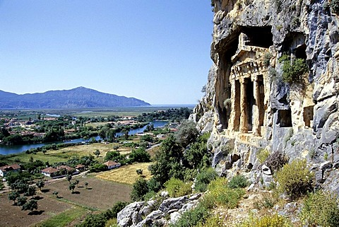 Tomb, lycian burial place in the rocks facing the river delta at Caunos, Dalyan in the district of Mugla, Turkey