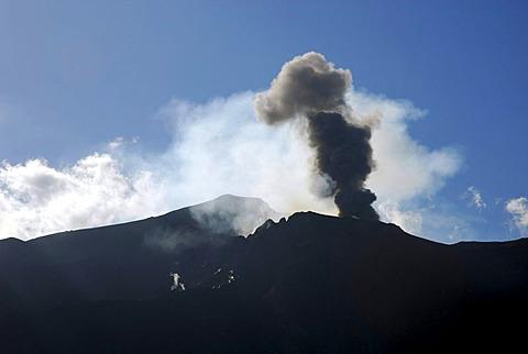 Volcanic eruption with black smoke, Stromboli Volcano, Stromboli Island, Aeolian or Lipari Islands, Sicily, South Italy, Italy, Europe