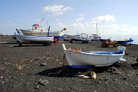 Fishing boats on a black sandy beach on Stromboli Island, Aeolian or Lipari Islands, Sicily, South Italy, Italy, Europe