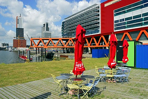 Luxor theatre, modern architecture at Wilhelminapier, Bar Cafe Terrace at Wilhelminaplein, Rijnhaven, Rotterdam, South Holland, the Netherlands, Europe