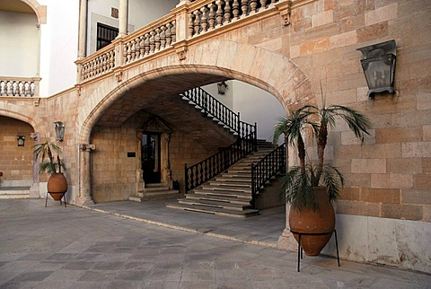 Stairway to a balcony with a balustrade in an inner courtyard, a Patio in the Palau, Palacio de Justicia, ministry of justice in former city palace Can Berga at Placa del Mercat, Plaza del Mercado, historic city centre, Ciutat Antiga, Palma de Mallorca, M