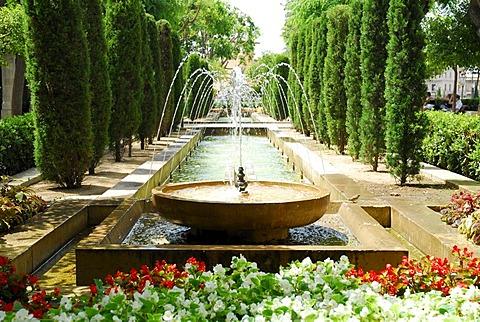 Fountains in King's Garden, Hort del Rei, the former approach to Almudaina Palace, Palau de Almudaina, historic city centre, Ciutat Antiga, Palma de Mallorca, Majorca, Balearic Islands, Spain, Europe