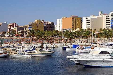 Boats in Club Nautic s'Arenal, marina, in front of buildings on the Boulevard of Arenal, Majorca, Balearic Islands, Mediterranean Sea, Spain, Europe