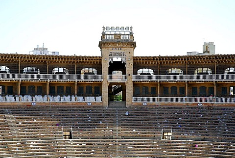 Deserted grandstand in Coliseu Balear, Plaza Praca de Toros, bullfight arena from 1929, Palma de Mallorca, Majorca, Balearic Islands, Spain, Europe