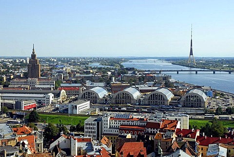 View from the St. Peter's Cathedral on the Central Market, Centraltirgus, the Daugava, Duena river and the television tower, Riga, Latvia, Baltic States, Northeast Europe