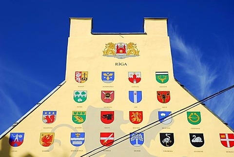 Gable, mural painting with various Latvian city crests in the historic center Vecriga, Riga, Latvia, Baltic States, Northeast Europe