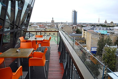 Albert Hotel restaurant, a modern high rise hotel in the Dzirnavu iela Street with skyline view from the Lounge Bar cafe terraced balcony, Riga, Latvia, Latvija, Baltic States, Northeast Europe